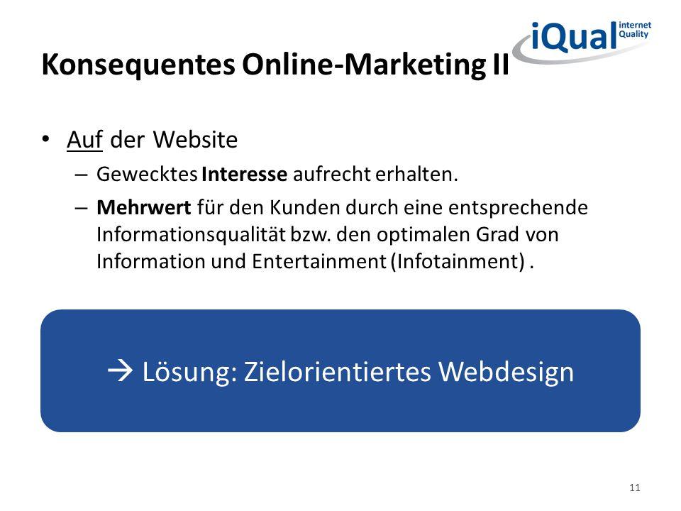 Konsequentes Online-Marketing II Auf der Website – Gewecktes Interesse aufrecht erhalten. – Mehrwert für den Kunden durch eine entsprechende Informati
