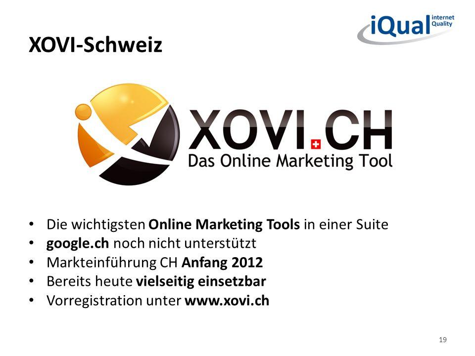 XOVI-Schweiz 19 Die wichtigsten Online Marketing Tools in einer Suite google.ch noch nicht unterstützt Markteinführung CH Anfang 2012 Bereits heute vi