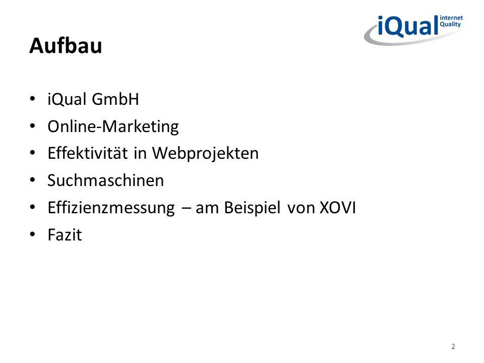 Aufbau iQual GmbH Online-Marketing Effektivität in Webprojekten Suchmaschinen Effizienzmessung – am Beispiel von XOVI Fazit 2