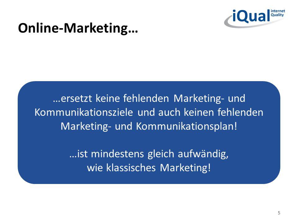 Online-Marketing… 5 …ersetzt keine fehlenden Marketing- und Kommunikationsziele und auch keinen fehlenden Marketing- und Kommunikationsplan! …ist mind
