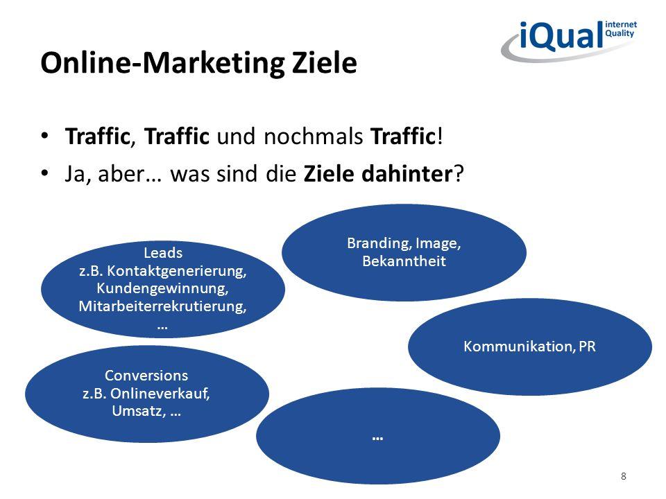 Online-Marketing Ziele Traffic, Traffic und nochmals Traffic! Ja, aber… was sind die Ziele dahinter? Leads z.B. Kontaktgenerierung, Kundengewinnung, M