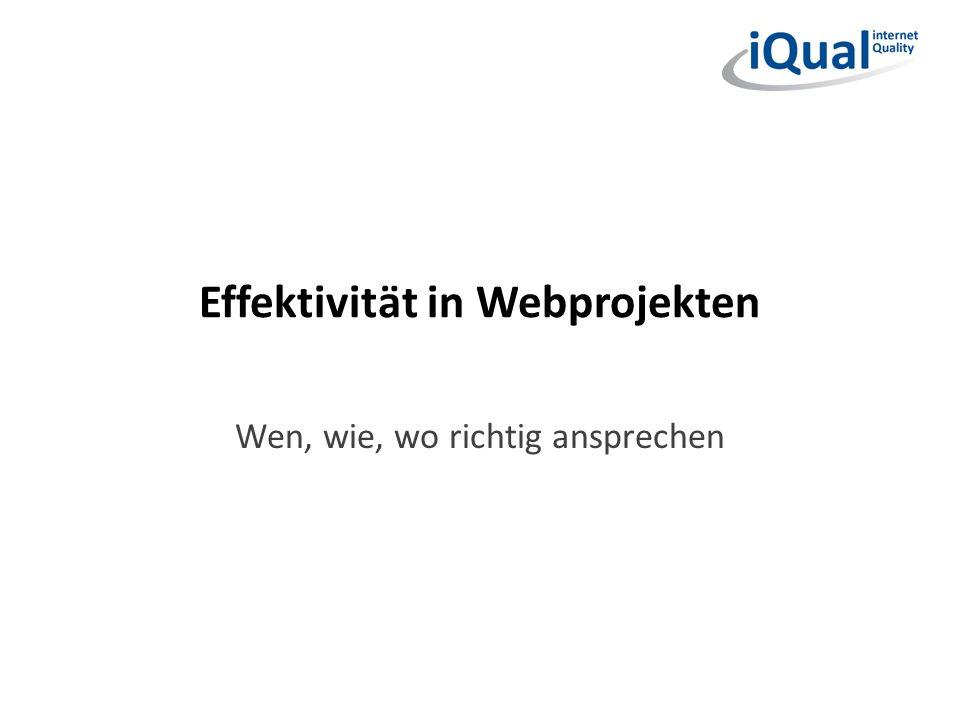 Effektivität in Webprojekten Wen, wie, wo richtig ansprechen