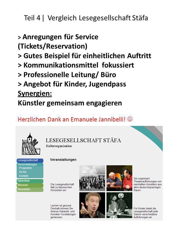 Teil 4 ǀ Vergleich Lesegesellschaft Stäfa ˃ Anregungen für Service (Tickets/Reservation) ˃ Gutes Beispiel für einheitlichen Auftritt ˃ Kommunikationsm