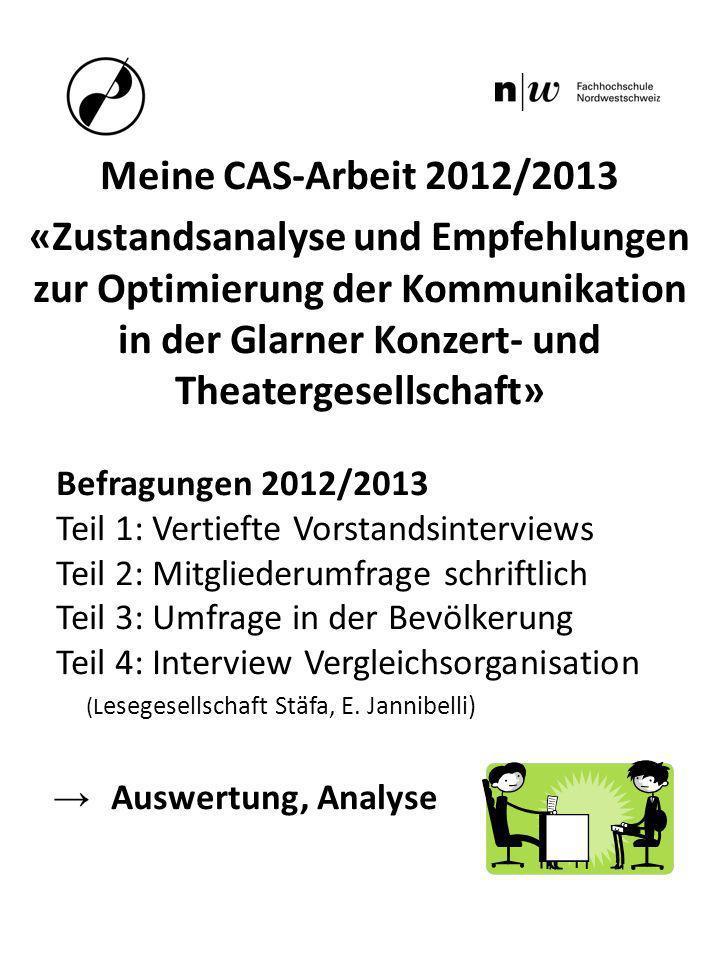 Meine CAS-Arbeit 2012/2013 «Zustandsanalyse und Empfehlungen zur Optimierung der Kommunikation in der Glarner Konzert- und Theatergesellschaft» Befrag