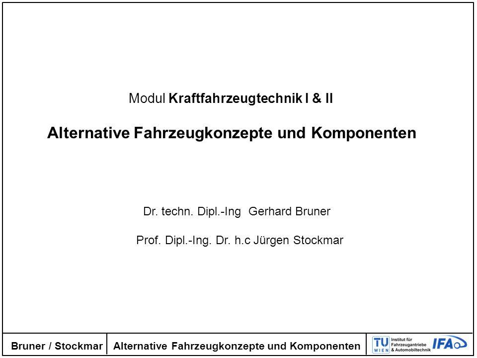 Alternative Fahrzeugkonzepte und Komponenten Bruner / Stockmar Modul Kraftfahrzeugtechnik I & II Alternative Fahrzeugkonzepte und Komponenten Dr. tech