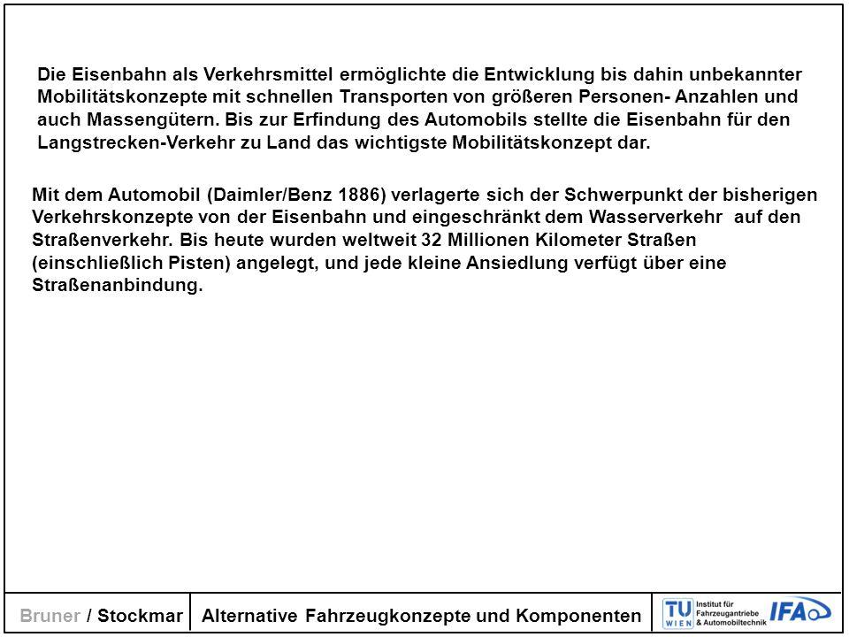 Alternative Fahrzeugkonzepte und Komponenten Bruner / Stockmar Mit dem Automobil (Daimler/Benz 1886) verlagerte sich der Schwerpunkt der bisherigen Ve