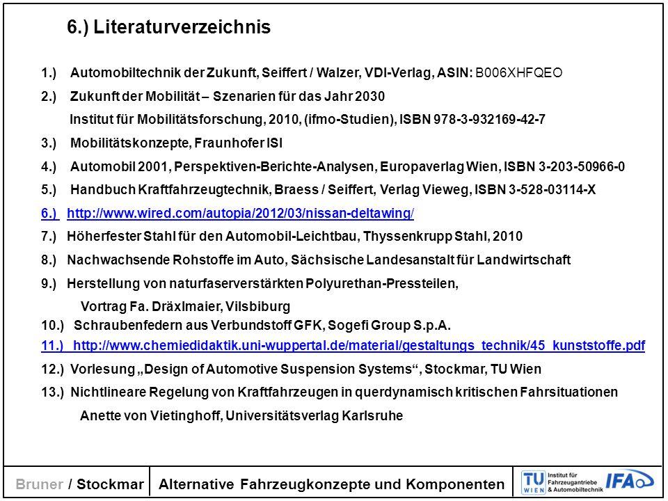 Alternative Fahrzeugkonzepte und Komponenten Bruner / Stockmar 6.) Literaturverzeichnis 1.) Automobiltechnik der Zukunft, Seiffert / Walzer, VDI-Verla