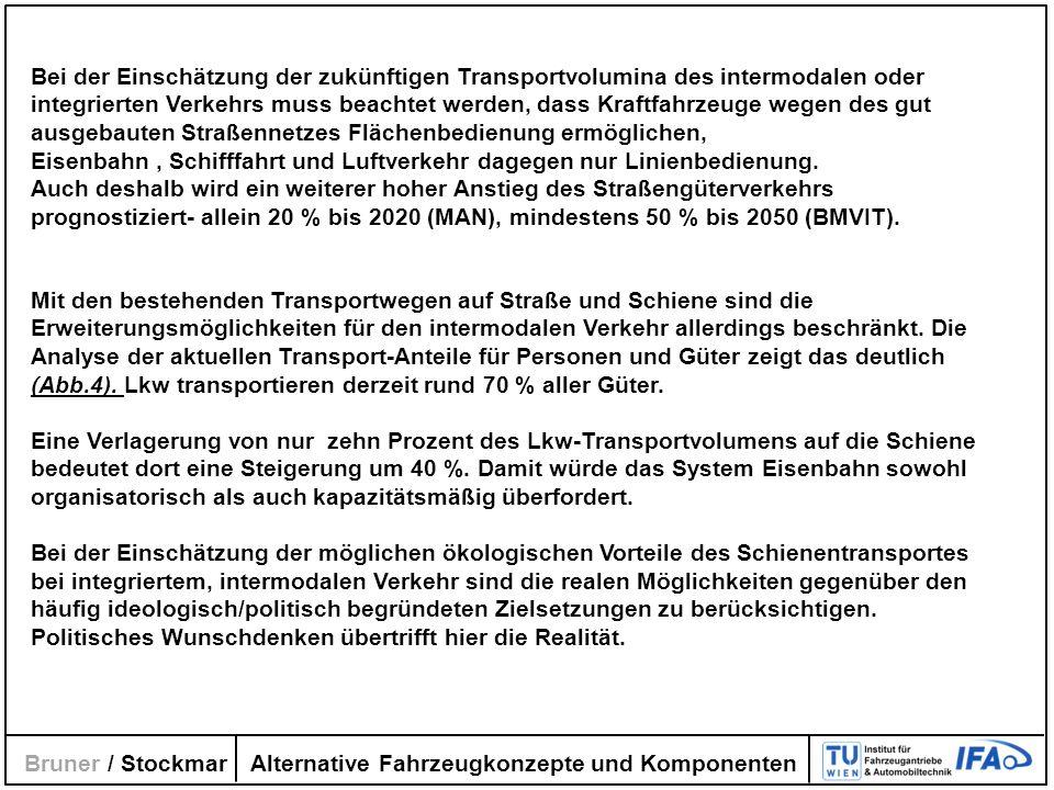 Alternative Fahrzeugkonzepte und Komponenten Bruner / Stockmar Bei der Einschätzung der zukünftigen Transportvolumina des intermodalen oder integriert