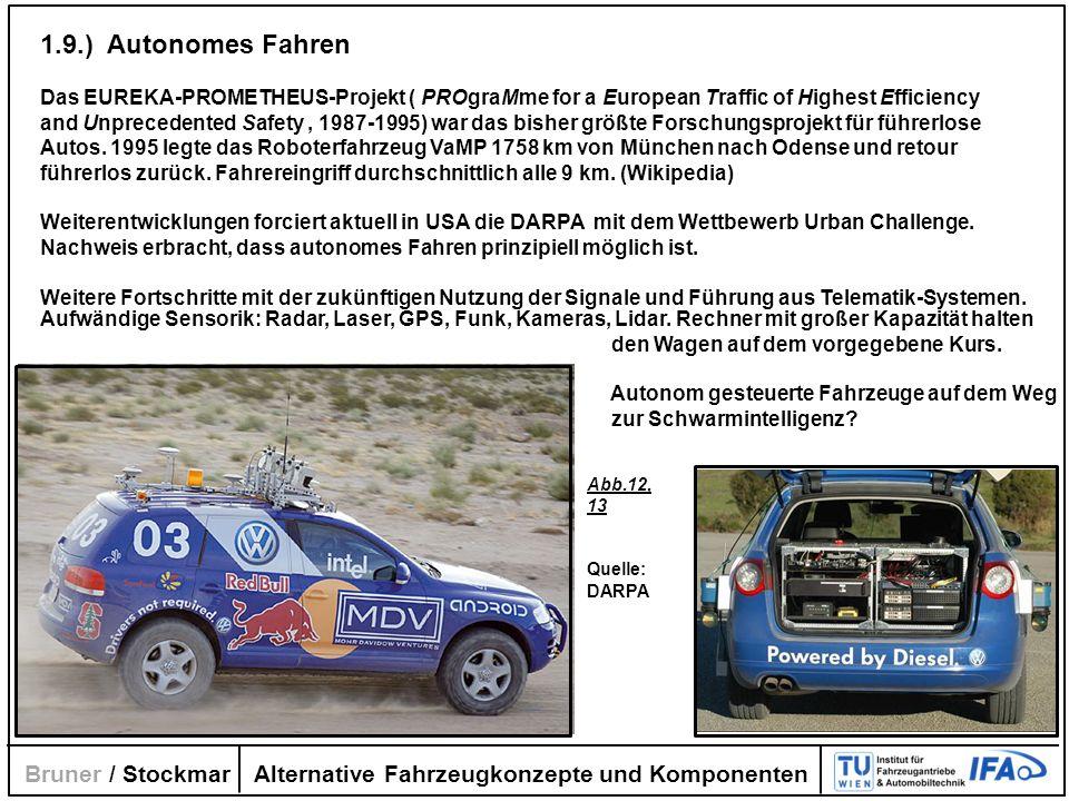 Alternative Fahrzeugkonzepte und Komponenten Bruner / Stockmar 1.9.) Autonomes Fahren Das EUREKA-PROMETHEUS-Projekt ( PROgraMme for a European Traffic