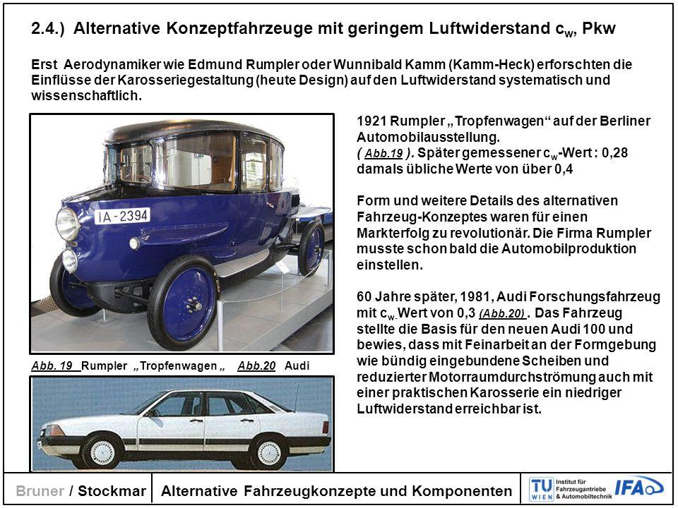 Alternative Fahrzeugkonzepte und Komponenten Bruner / Stockmar 2.4.) Alternative Konzeptfahrzeuge mit geringem Luftwiderstand c w, Pkw Erst Aerodynami