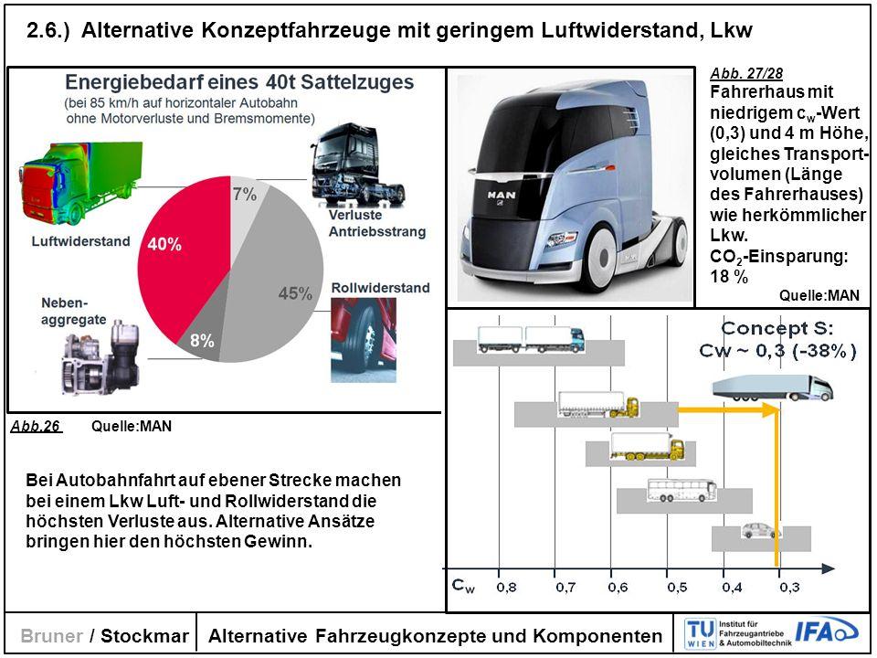 Alternative Fahrzeugkonzepte und Komponenten Bruner / Stockmar 2.6.) Alternative Konzeptfahrzeuge mit geringem Luftwiderstand, Lkw Abb.26 Quelle:MAN A