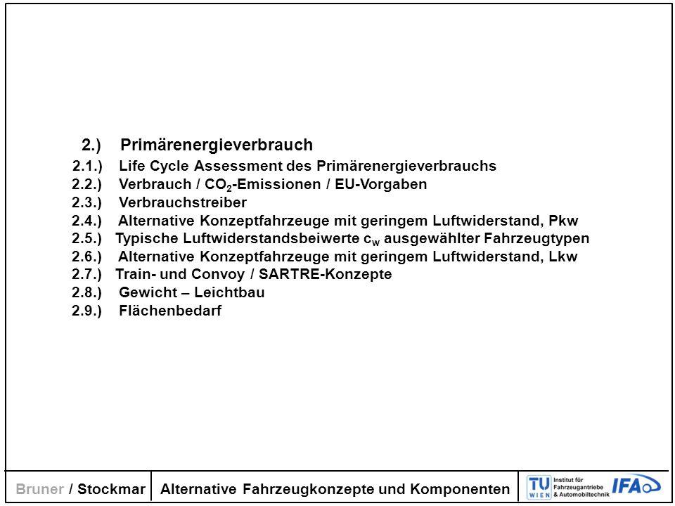 Alternative Fahrzeugkonzepte und Komponenten Bruner / Stockmar 2.) Primärenergieverbrauch 2.1.) Life Cycle Assessment des Primärenergieverbrauchs 2.2.