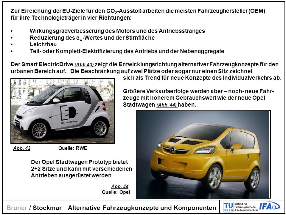 Alternative Fahrzeugkonzepte und Komponenten Bruner / Stockmar Zur Erreichung der EU-Ziele für den CO 2 -Ausstoß arbeiten die meisten Fahrzeugherstell