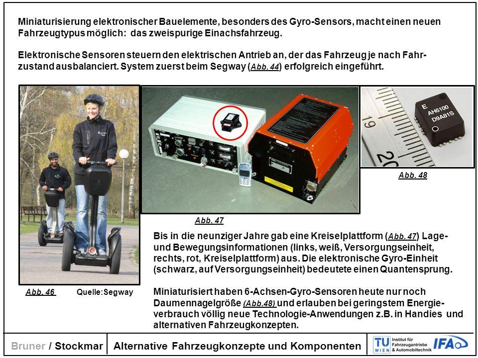 Alternative Fahrzeugkonzepte und Komponenten Bruner / Stockmar Miniaturisierung elektronischer Bauelemente, besonders des Gyro-Sensors, macht einen ne