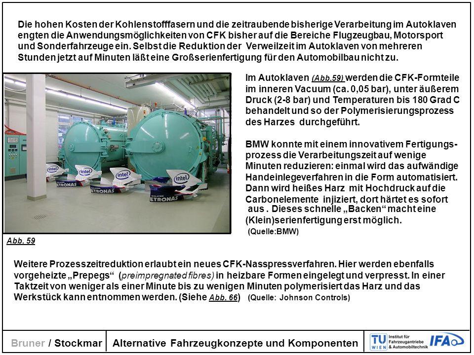 Alternative Fahrzeugkonzepte und Komponenten Bruner / Stockmar Die hohen Kosten der Kohlenstofffasern und die zeitraubende bisherige Verarbeitung im A
