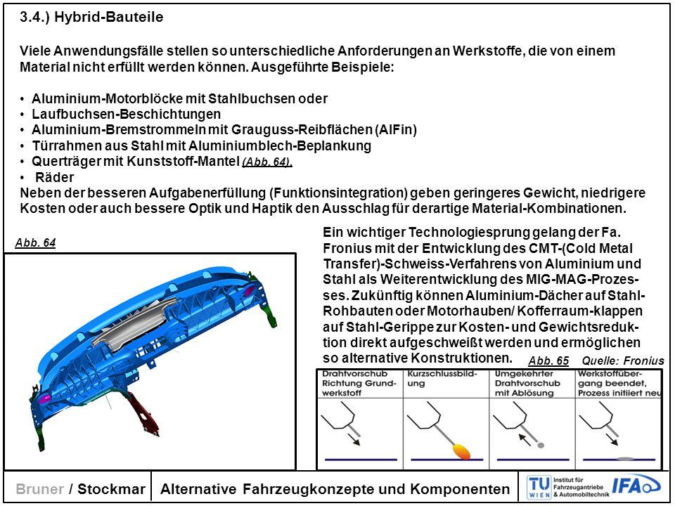 Alternative Fahrzeugkonzepte und Komponenten Bruner / Stockmar 3.4.) Hybrid-Bauteile Viele Anwendungsfälle stellen so unterschiedliche Anforderungen a