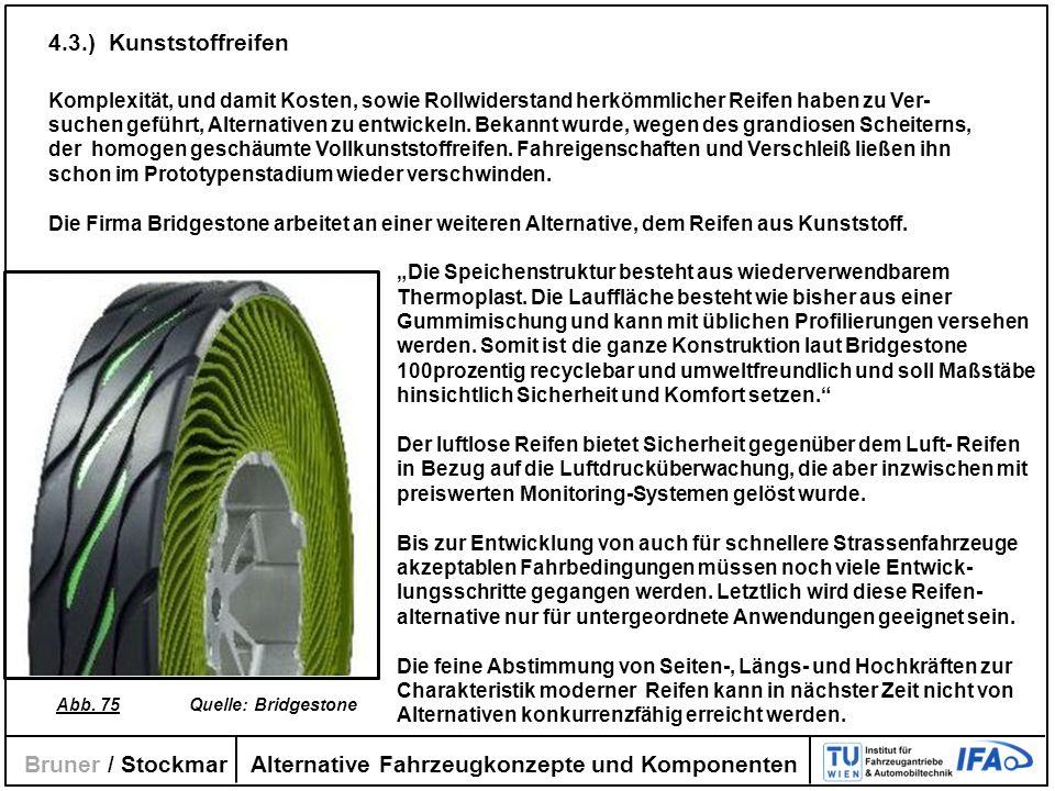 Alternative Fahrzeugkonzepte und Komponenten Bruner / Stockmar 4.3.) Kunststoffreifen Komplexität, und damit Kosten, sowie Rollwiderstand herkömmliche
