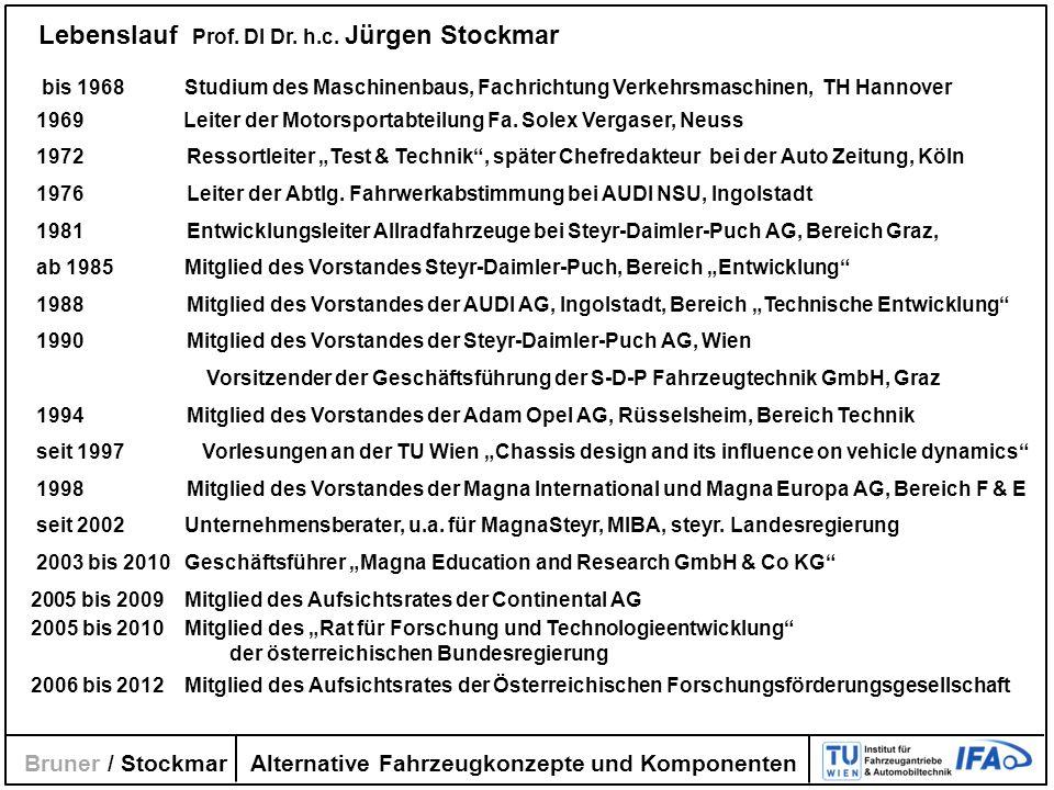 Alternative Fahrzeugkonzepte und Komponenten Bruner / Stockmar Lebenslauf Prof. DI Dr. h.c. Jürgen Stockmar bis 1968 Studium des Maschinenbaus, Fachri