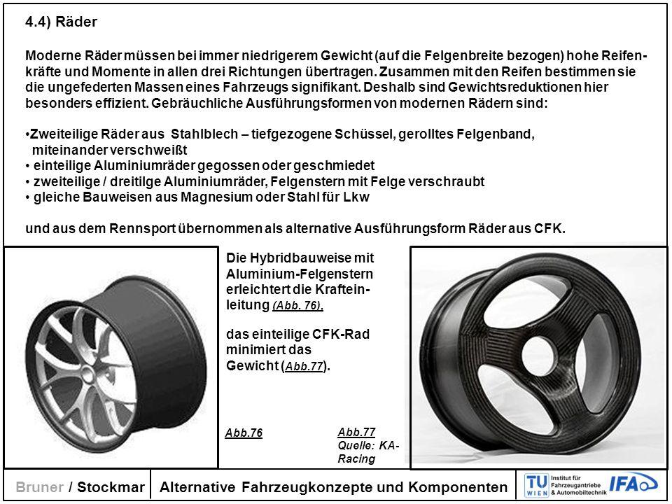 Alternative Fahrzeugkonzepte und Komponenten Bruner / Stockmar 4.4) Räder Moderne Räder müssen bei immer niedrigerem Gewicht (auf die Felgenbreite bez