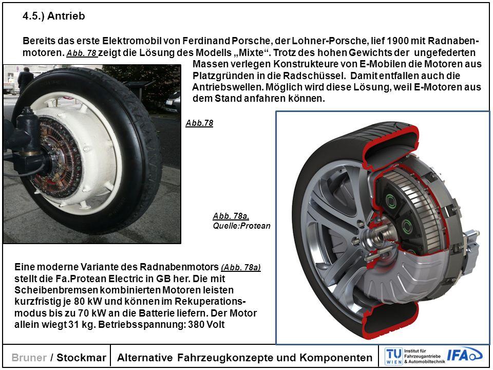 Alternative Fahrzeugkonzepte und Komponenten Bruner / Stockmar 4.5.) Antrieb Bereits das erste Elektromobil von Ferdinand Porsche, der Lohner-Porsche,