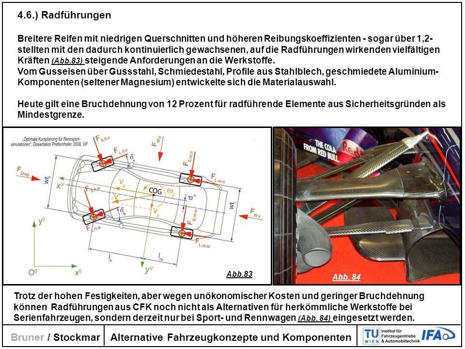 Alternative Fahrzeugkonzepte und Komponenten Bruner / Stockmar 4.6.) Radführungen Breitere Reifen mit niedrigen Querschnitten und höheren Reibungskoef