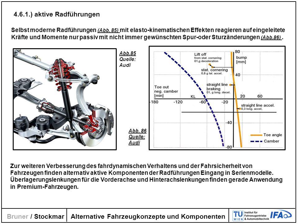 Alternative Fahrzeugkonzepte und Komponenten Bruner / Stockmar Selbst moderne Radführungen (Abb. 85) mit elasto-kinematischen Effekten reagieren auf e