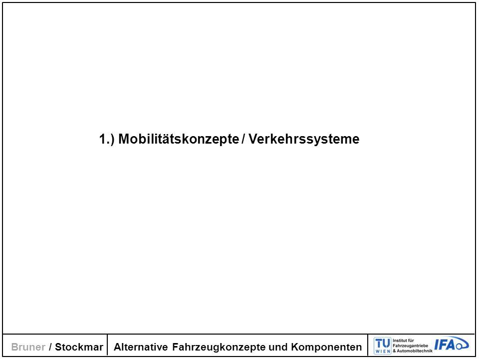 Alternative Fahrzeugkonzepte und Komponenten Bruner / Stockmar 1.) Mobilitätskonzepte / Verkehrssysteme
