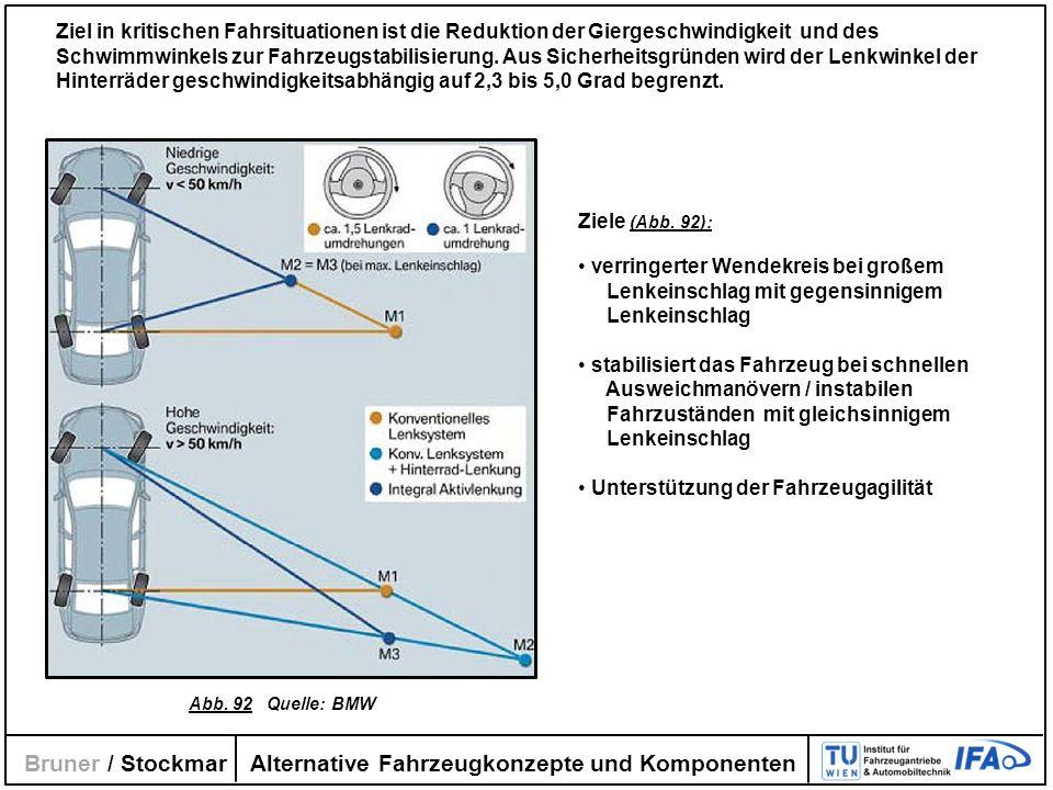Alternative Fahrzeugkonzepte und Komponenten Bruner / Stockmar Ziele (Abb. 92): verringerter Wendekreis bei großem Lenkeinschlag mit gegensinnigem Len