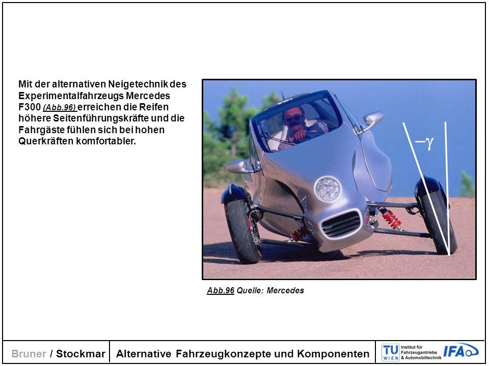 Alternative Fahrzeugkonzepte und Komponenten Bruner / Stockmar Mit der alternativen Neigetechnik des Experimentalfahrzeugs Mercedes F300 (Abb.96) erre