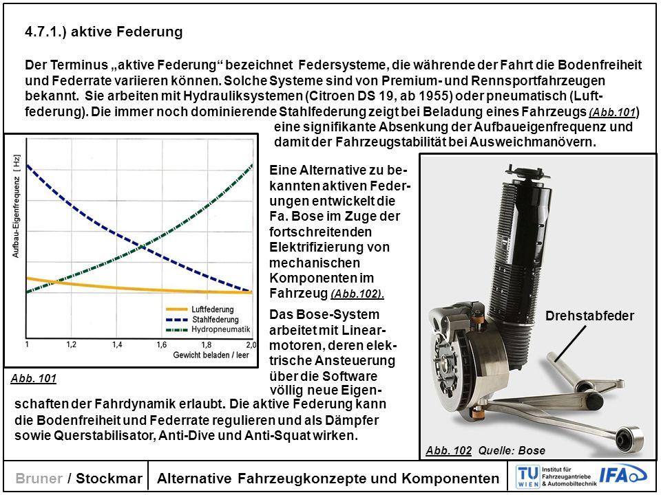 Alternative Fahrzeugkonzepte und Komponenten Bruner / Stockmar 4.7.1.) aktive Federung Der Terminus aktive Federung bezeichnet Federsysteme, die währe