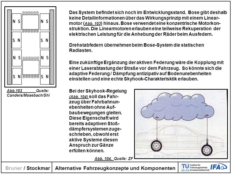 Alternative Fahrzeugkonzepte und Komponenten Bruner / Stockmar Das System befindet sich noch im Entwicklungsstand. Bose gibt deshalb keine Detailinfor