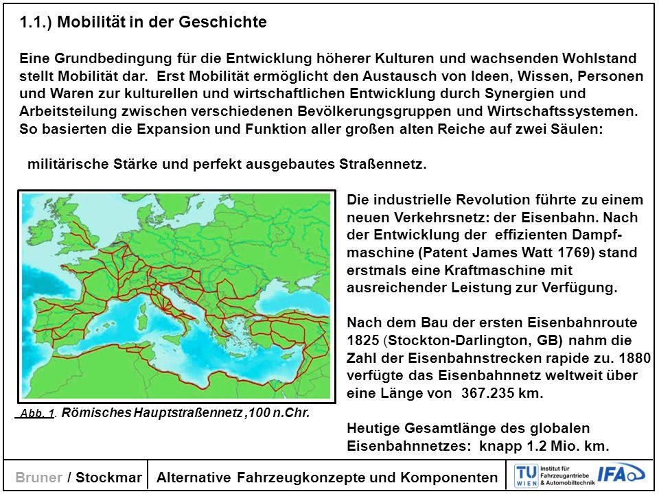 Alternative Fahrzeugkonzepte und Komponenten Bruner / Stockmar Mit dem Automobil (Daimler/Benz 1886) verlagerte sich der Schwerpunkt der bisherigen Verkehrskonzepte von der Eisenbahn und eingeschränkt dem Wasserverkehr auf den Straßenverkehr.