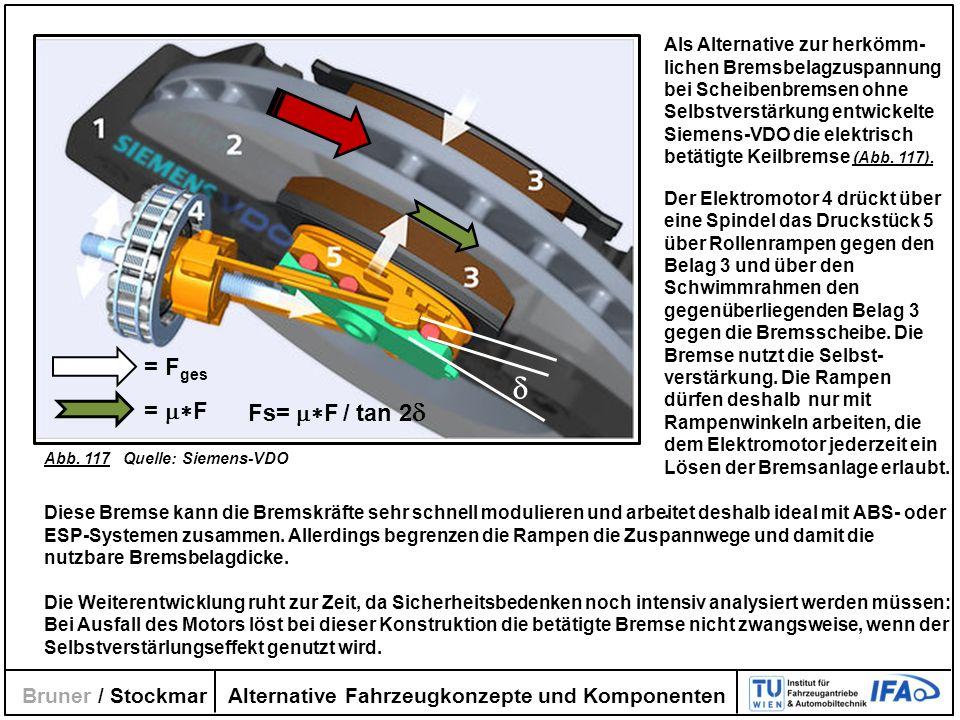 Alternative Fahrzeugkonzepte und Komponenten Bruner / Stockmar Als Alternative zur herkömm- lichen Bremsbelagzuspannung bei Scheibenbremsen ohne Selbs