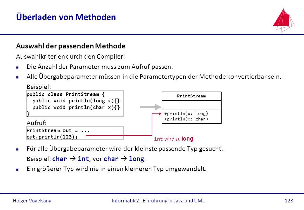 Holger VogelsangInformatik 2 - Einführung in Java und UML123 Überladen von Methoden Auswahl der passenden Methode Auswahlkriterien durch den Compiler:
