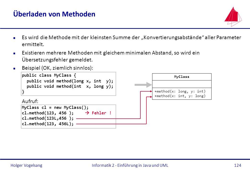 Holger VogelsangInformatik 2 - Einführung in Java und UML124 Überladen von Methoden n Es wird die Methode mit der kleinsten Summe der Konvertierungsab