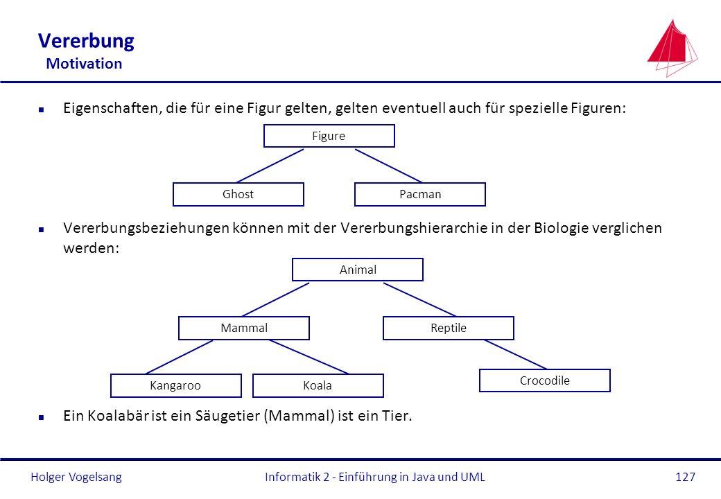 Holger VogelsangInformatik 2 - Einführung in Java und UML127 Vererbung Motivation n Eigenschaften, die für eine Figur gelten, gelten eventuell auch fü