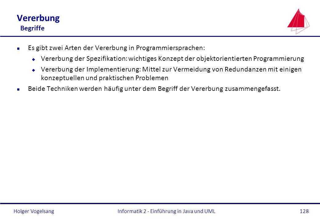 Holger Vogelsang Vererbung Begriffe n Es gibt zwei Arten der Vererbung in Programmiersprachen: u Vererbung der Spezifikation: wichtiges Konzept der ob