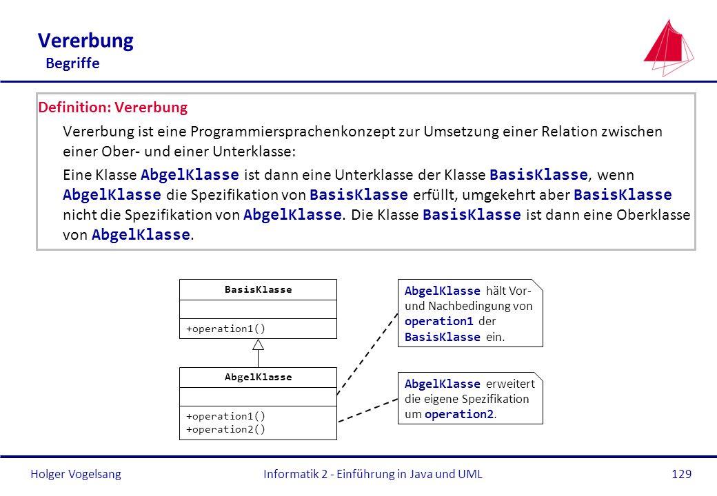 Holger Vogelsang Vererbung Begriffe Definition: Vererbung Vererbung ist eine Programmiersprachenkonzept zur Umsetzung einer Relation zwischen einer Ob