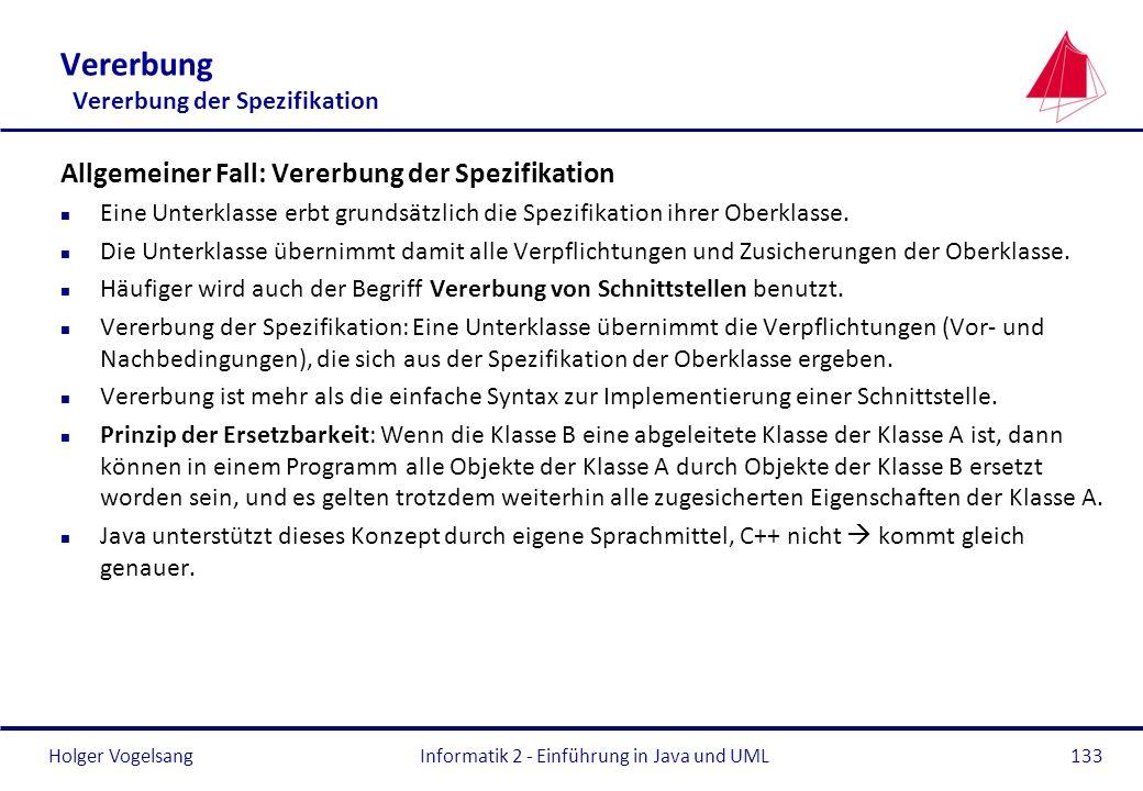Holger Vogelsang Vererbung Vererbung der Spezifikation Allgemeiner Fall: Vererbung der Spezifikation n Eine Unterklasse erbt grundsätzlich die Spezifi