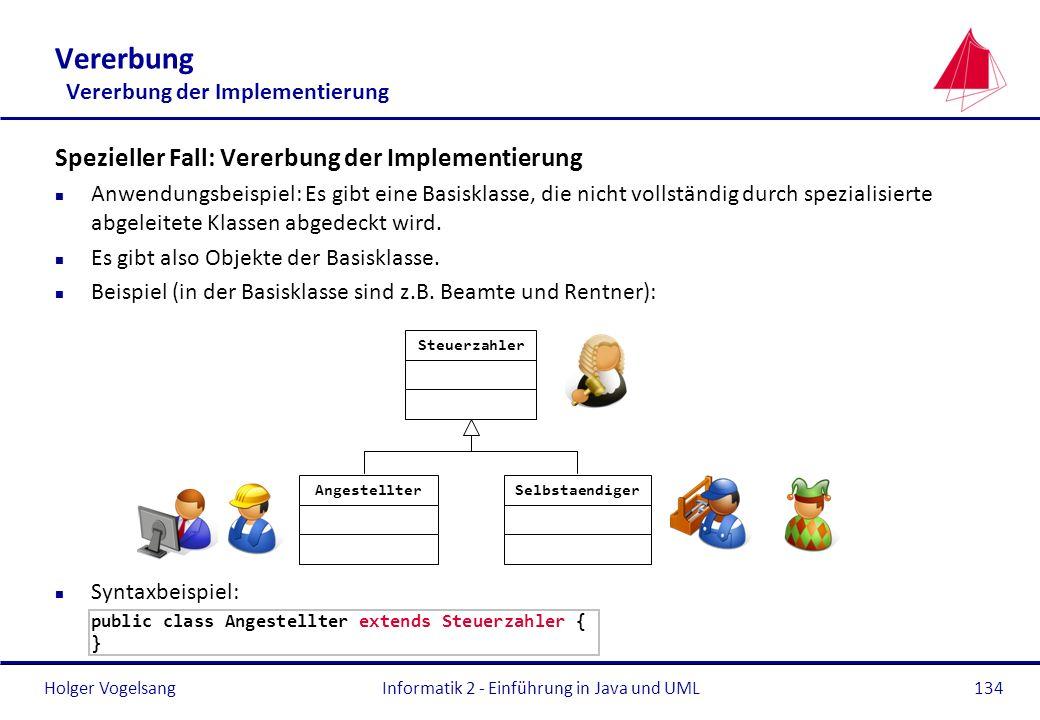 Holger Vogelsang Spezieller Fall: Vererbung der Implementierung n Anwendungsbeispiel: Es gibt eine Basisklasse, die nicht vollständig durch spezialisi