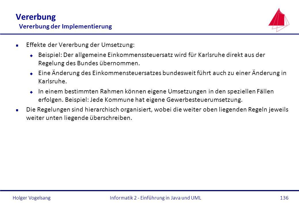 Holger Vogelsang Vererbung Vererbung der Implementierung n Effekte der Vererbung der Umsetzung: u Beispiel: Der allgemeine Einkommenssteuersatz wird f