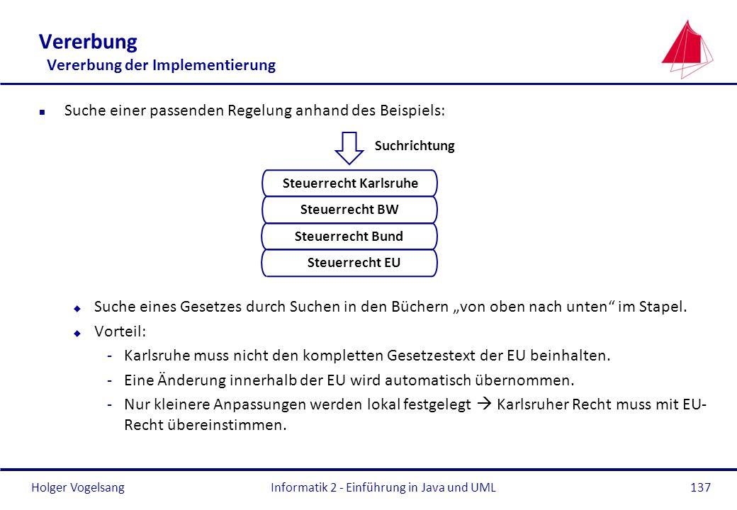 Holger Vogelsang Vererbung Vererbung der Implementierung n Suche einer passenden Regelung anhand des Beispiels: u Suche eines Gesetzes durch Suchen in