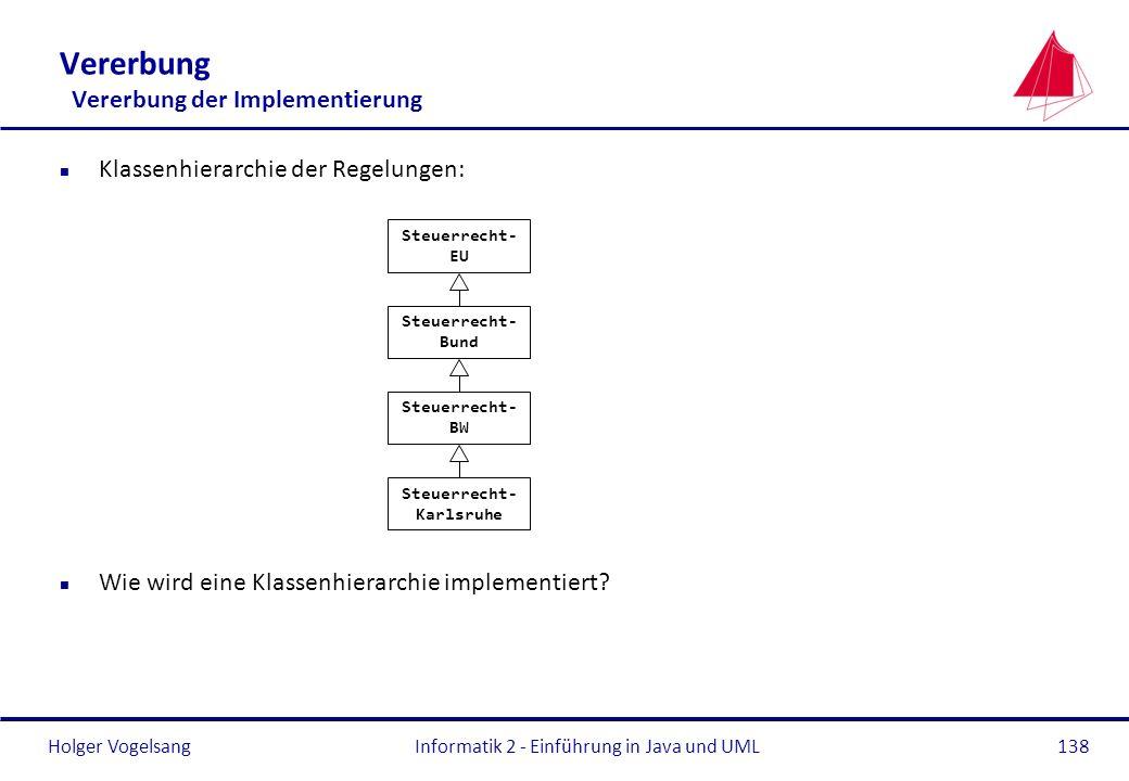Holger Vogelsang Vererbung Vererbung der Implementierung n Klassenhierarchie der Regelungen: n Wie wird eine Klassenhierarchie implementiert? Informat