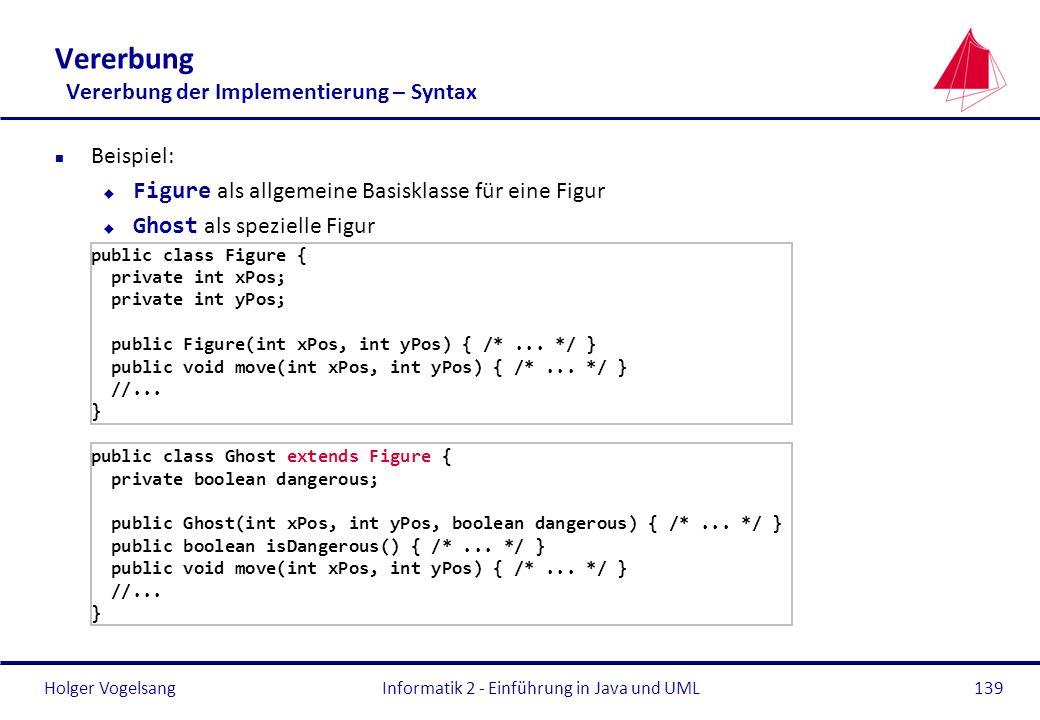 Holger VogelsangInformatik 2 - Einführung in Java und UML139 Vererbung Vererbung der Implementierung – Syntax n Beispiel: Figure als allgemeine Basisk