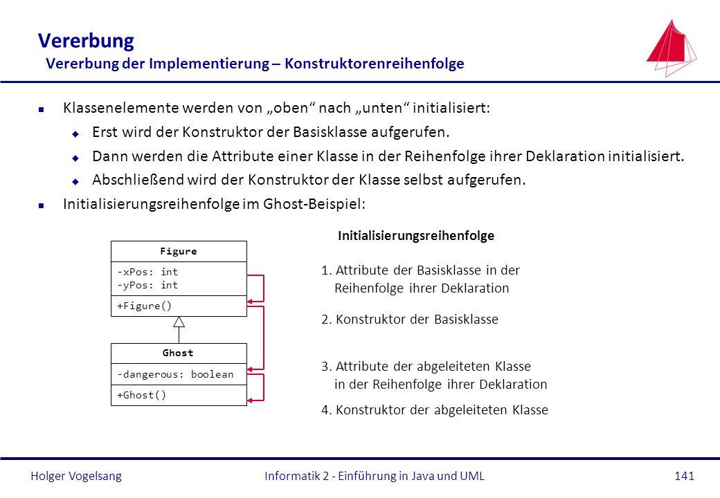 Holger Vogelsang n Klassenelemente werden von oben nach unten initialisiert: u Erst wird der Konstruktor der Basisklasse aufgerufen. u Dann werden die