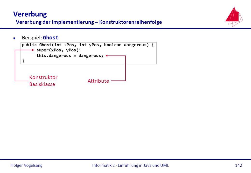 Holger VogelsangInformatik 2 - Einführung in Java und UML142 Vererbung Vererbung der Implementierung – Konstruktorenreihenfolge Beispiel: Ghost public