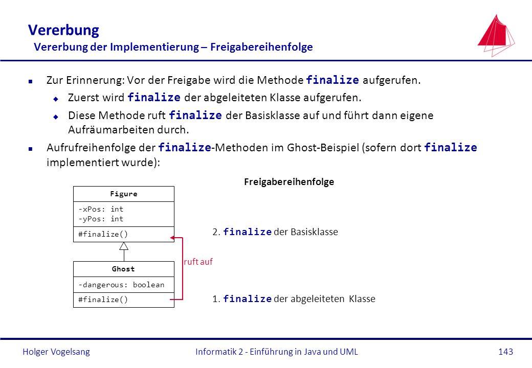 Holger Vogelsang Zur Erinnerung: Vor der Freigabe wird die Methode finalize aufgerufen. Zuerst wird finalize der abgeleiteten Klasse aufgerufen. Diese