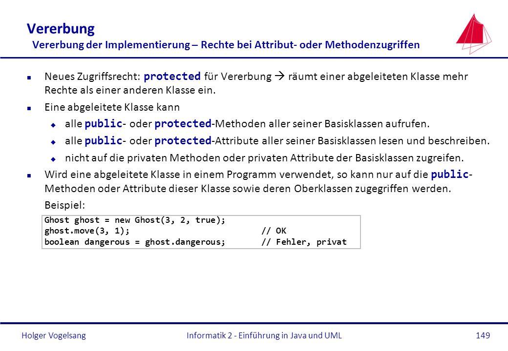 Holger VogelsangInformatik 2 - Einführung in Java und UML149 Vererbung Vererbung der Implementierung – Rechte bei Attribut- oder Methodenzugriffen Neu