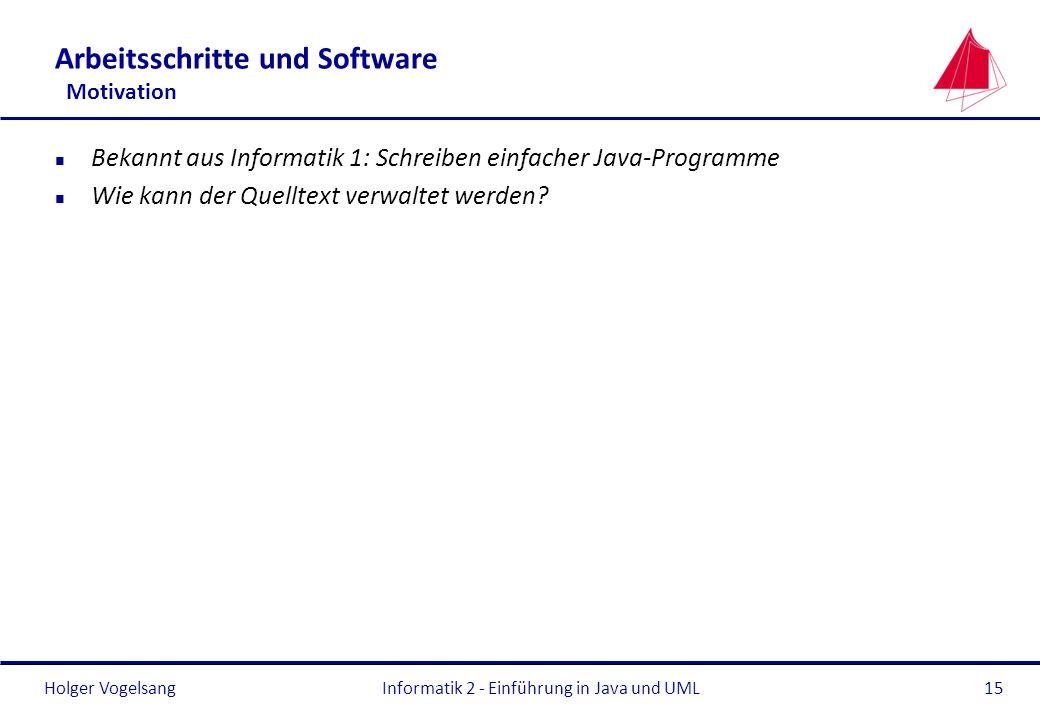 Holger VogelsangInformatik 2 - Einführung in Java und UML15 Arbeitsschritte und Software Motivation n Bekannt aus Informatik 1: Schreiben einfacher Ja
