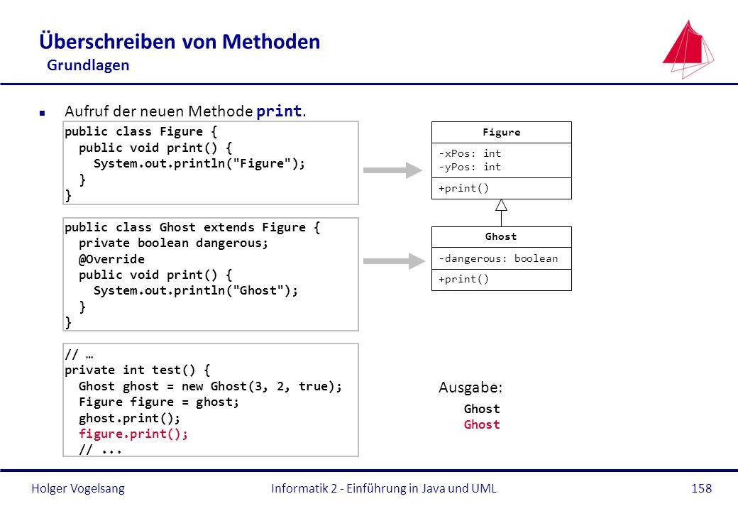 Holger VogelsangInformatik 2 - Einführung in Java und UML158 Überschreiben von Methoden Grundlagen Aufruf der neuen Methode print. public class Figure